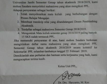 Jadwal Pelaksanaan PLP Genap 2019